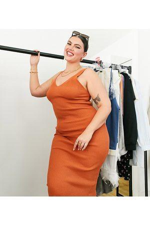 ASOS Curve Women Casual Dresses - ASOS DESIGN Curve midi slip dress in knitted rib