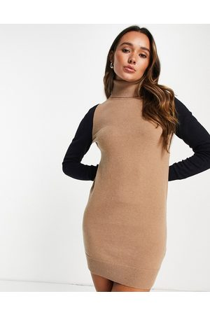French Connection Milla knitted mini jumper dress with roll neck in colourblock-Multi