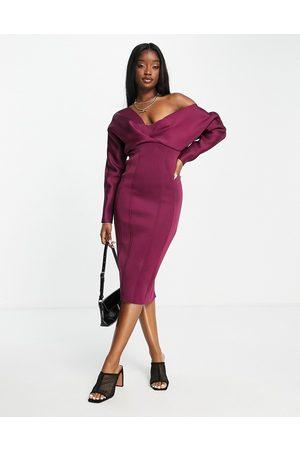 ASOS DESIGN Fallen shoulder super seamed pencil skirt midi dress in berry-Multi