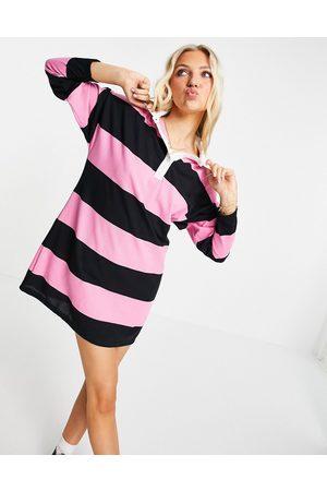 ASOS Long sleeve collared shirt mini dress in black and stripe