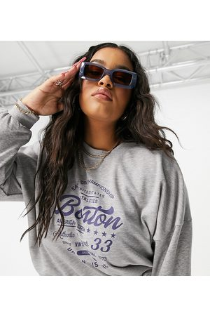 Noisy May Curve Sweater co ord with collegiate boston motif in