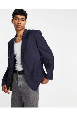ASOS DESIGN Power shoulder suit jacket in navy
