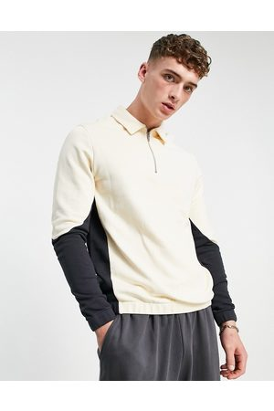 ASOS DESIGN Oversized half zip polo sweatshirt in colour block-Neutral