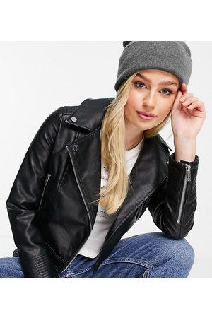 Miss Selfridge Petite faux leather biker jacket in