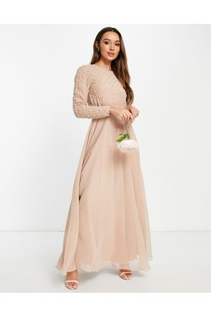 ASOS DESIGN Bridesmaid maxi dress with long sleeve embellishment & tulle skirt in blush