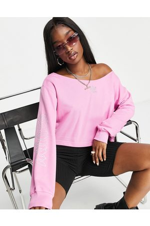 adidas Originals 2000s Luxe' velour slouchy cropped sweatshirt in with diamante logo