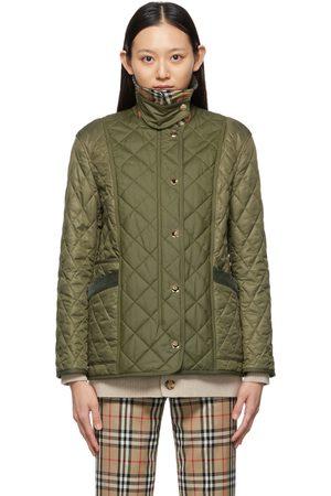 Burberry Khaki Quilted Corduroy Collar Diamond Jacket