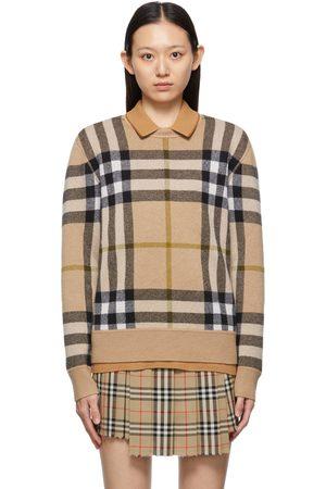 Burberry Beige Check Cashmere Jacquard Sweater