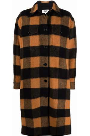 MM6 Maison Margiela Women Coats - Checked brushed wool-blend coat