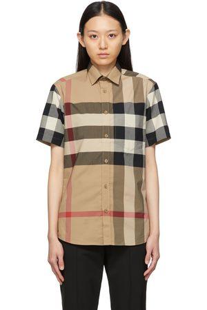 Burberry Women Short sleeves - Poplin Check Short Sleeve Shirt
