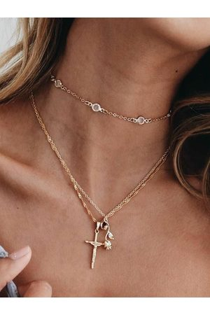 YOINS Cross Rose Pendant Multilayer Necklace