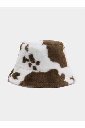 YOINS Cow Pattern Plush Fisherman Hat