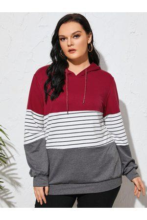 YOINS Plus Size Striped Hooded Design Patchwork Sweatshirt