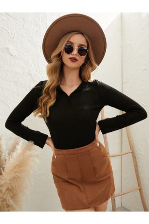 YOINS Casual Bodycon Fit Design V-neck Long Sleeves Knitwear