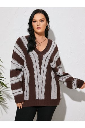 YOINS Plus Size V-neck Striped Long Sleeves Sweater