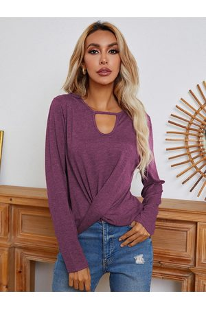 YOINS Cut Out Twist Design Round Neck Long Sleeves Tee
