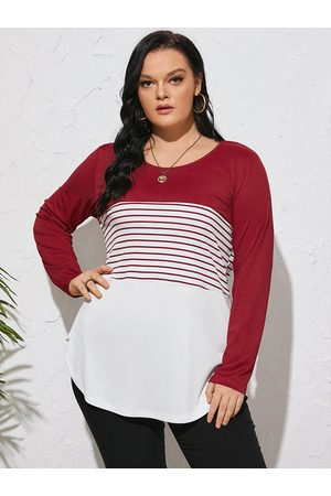 YOINS Plus Size Round Neck Striped Patchwork Long Sleeves Tee