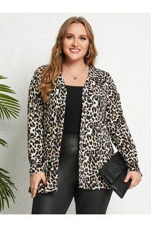 YOINS Plus Size Leopard Button Design Long Sleeves Cardigan