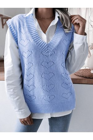 YOINS V-neck Hollow Heart Knit Vest Sweater