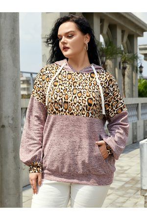 YOINS Women Sweatshirts - Plus Size Hooded Leopard Drawstring Patchwork Pocket Sweatshirt