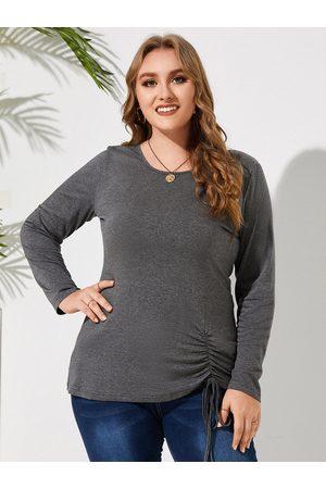 YOINS Women Long Sleeve - Plus Size Round Neck Drawstring Long Sleeves Tee
