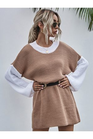 YOINS Women Jumpers - Round Neck Patchwork Knit Lantern Sleeves Midi Sweater