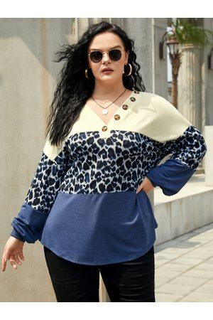 YOINS Women Jumpers - Plus Size V-neck Leopard Button Design Patchwork Design Sweater
