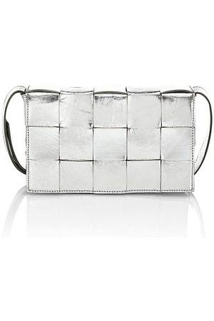 Bottega Veneta Women Handbags - The Shiny Cassette Metallic Leather Crossbody Bag