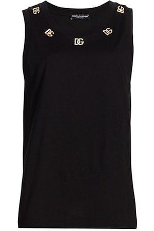 Dolce & Gabbana Metal & Crystal-Embellished Logo Tank