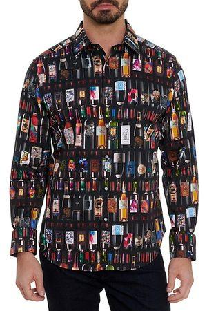 Robert Graham Men Sports T-shirts - Wine Bottle Stretch Sport Shirt