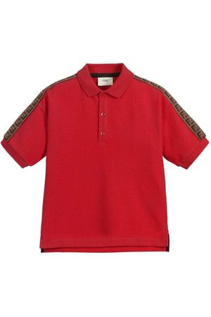 Fendi Boys Polo Shirts - Kids Taped Polo, 8 YEARS / RED