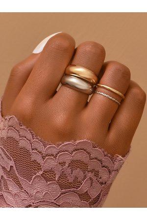 YOINS 4pcs Simple Metal Ring