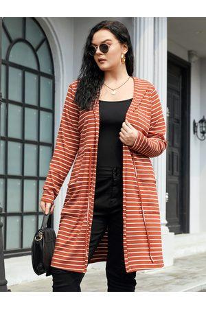 YOINS Plus Size Striped Drawstring Hooded Design Pocket Cardigan