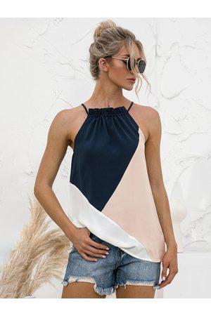 YOINS Multicolor Patchwork Design Halter Sleeves Cami