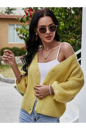 YOINS Button Front Design V-neck Puff Sleeves Sweater