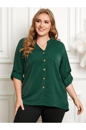 YOINS Plus Size Classic Collar Front Button Long Sleeves Blouse