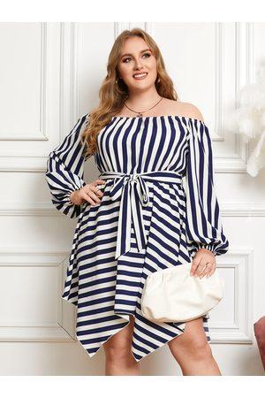 YOINS Plus Size Off The Shoulder Striped Belt Design Dress