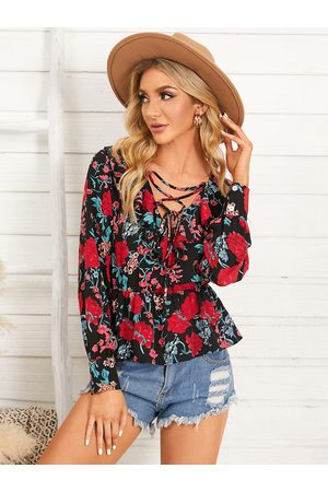 YOINS Floral Print Lace-Up Design Ruffle Trim V-neck Long Sleeves Blouse