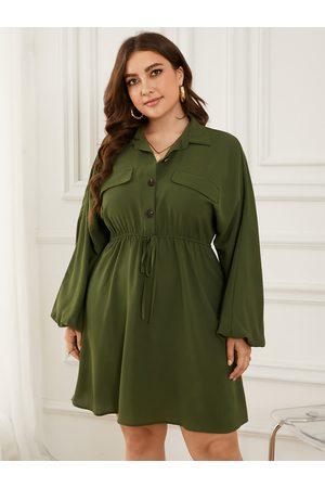 YOINS Plus Size Classic Collar Drawstring Button Tie-up Design Pocket Dress