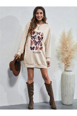 YOINS Butterfly Print Round Neck Midi Length Sweatshirt
