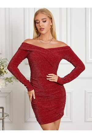 YOINS Glitter Ruched Off The Shoulder Long Sleeves Mini Dress
