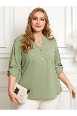 YOINS Plus Size V-neck Button Design Pocket Long Sleeves Blouse