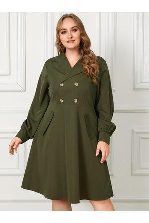 YOINS Plus Size Notch Collar Button Design Long Sleeves Dress