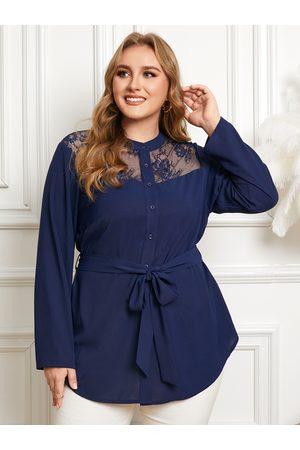 YOINS Plus Size Belt Design Lace Patchwork Design Long Sleeves Blouse