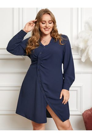 YOINS Plus Size Lapel Collar Button Design Long Sleeves Dress