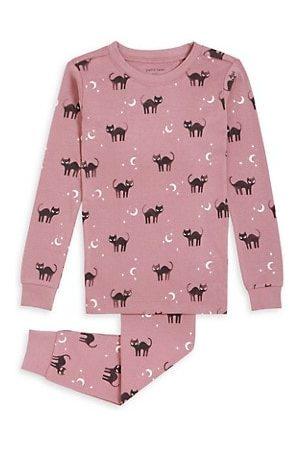 FIRSTS by petit lem Girls Pyjamas - Little Girl's 2-Piece Petit Lem Pl Sleep Halloween Cats Pajama Set