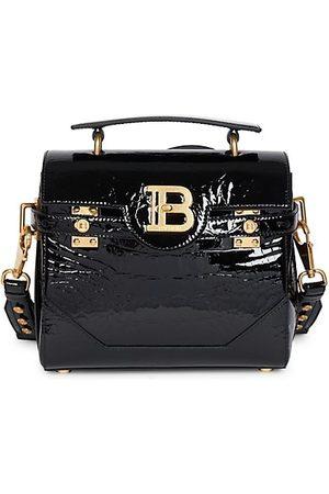 Balmain Women Handbags - BBuzz 23 Croc-Embossed Leather Crossbody Bag