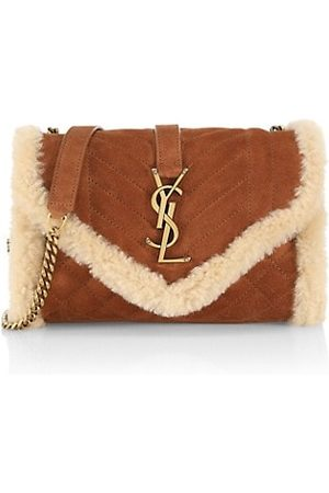 Saint Laurent Women Handbags - Small Envelope Shearling Chain Shoulder Bag