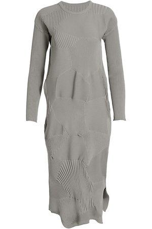 Issey Miyake Kone Ribbed Long Sleeve Dress