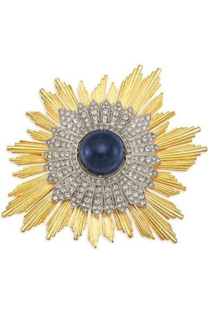 Kenneth Jay Lane Brooches - 22K Goldplated Crystal & Faux Sapphire Starburst Pin